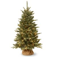 4' Pre-lit Potted Burlap Artificial Christmas Tree – Clear Lights - green