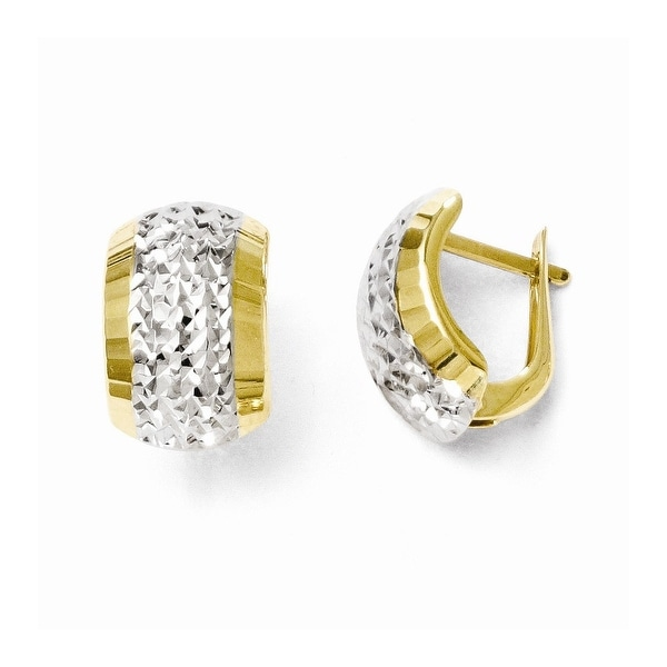 10k Gold with Rhodium-plated Diamond Cut Hinged Earrings