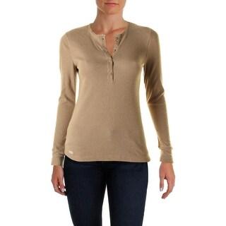 LRL Lauren Jeans Co. Womens Waffle Knit Henley Top
