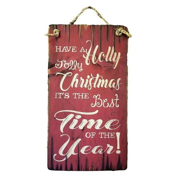 Cowboy Signs Wood Wall Hanging Holly Jolly Christmas Grass Rope