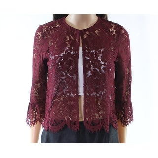 Soprano Red Women Size Medium M Floral Lace Sheer Kiss Front Jacket