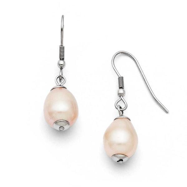 Chisel Stainless Steel Freshwater Cultured Pearl Shepherd Hook Earrings