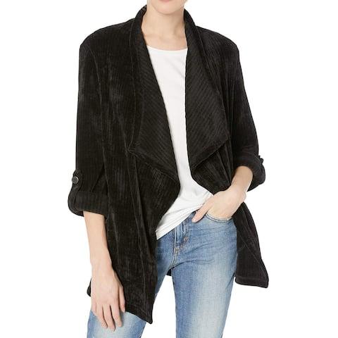 BB Dakota Black Womens Size Medium M Chenille Ribbed Draped Jacket