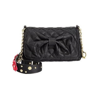 Betsey Johnson Womens Shoulder Handbag Faux Leather Embellished - small