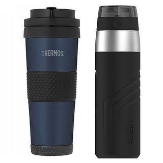 Thermos 18 oz Travel Tumbler Bottle (Midnight Blue) & 20 oz Drink Bottle
