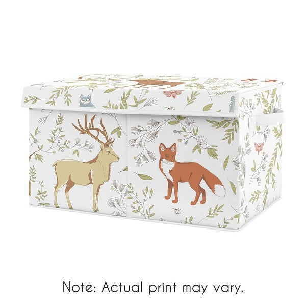 Woodland Animal Toile Collection Boy or Girl Kids Fabric Toy Bin Storage - Grey, Green and Brown Bear Deer Fox. Opens flyout.