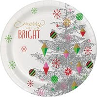 Club Pack of 96 White, Green and Grey Christmas Tree Printed Dinner Plates 8.8""