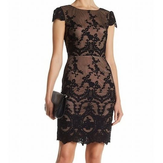 a2f0c99d Shop Cynthia Steffe NEW Black Women's Size 6 Floral Lace Sheath Dress -  Free Shipping Today - Overstock - 20270432