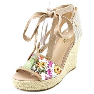 Guess Eylyna 2 Open Toe Canvas Wedge Heel