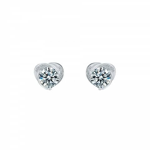 Platinum Plated Sterling Silver Solitaire Moissanite Stud Earrings (CERTIFIED) - 6.5 MM