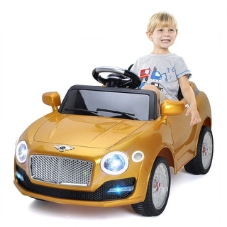 Costway 6V Kids Ride On Car Electric Battery Power RC Remote Control & Doors MP3 Gold