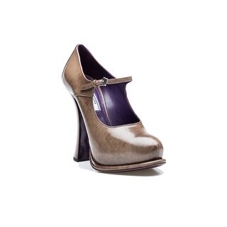 Prada Women's Coated Leather High Heel Taupe Shoes