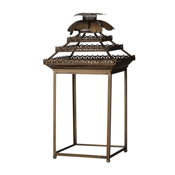 "31.5"" Antique Bronze Classic Vintage Rectangular Lantern - N/A"