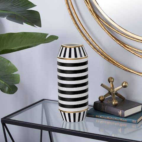 Black Ceramic Modern Vase 13 x 5 x 5 - 5 x 5 x 13