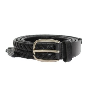 Dolce & Gabbana Black Leather Silver Buckle Belt