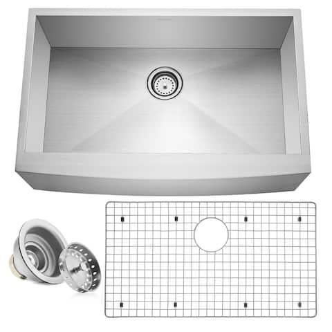 """33"""" x 21"""" x 10"""" Farmhouse Apron Stainless Steel Kitchen Sink- Miligore - 33"""" x 21"""" x 10"""""""