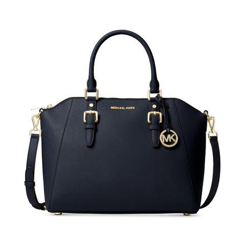 142c72a8e461d MICHAEL Michael Kors Ciara Saffiano Leather Large Satchel Admiral