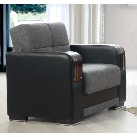 Gilmore Grey and Black Upholstered Convertible Arm Chair with Storage
