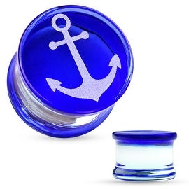 Anchor Engraved Face Blue Pyrex Glass Saddle Plug (Sold Individually)