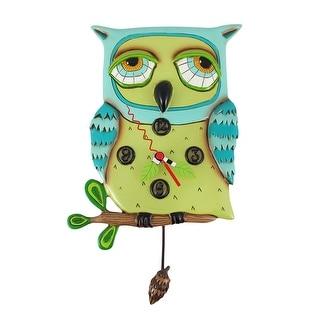 Allen Designs Old Blue Owl Pendulum Wall Clock