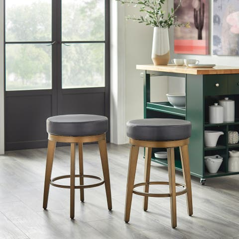 angelo:HOME Linden Faux Leather/ Brushed Metal Swivel Stool (Set of 2)