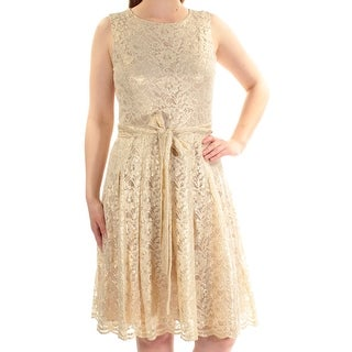 TOMMY HILFIGER Womens Gold Lace Sleeveless Jewel Neck Knee Length Fit + Flare Dress Size: 6