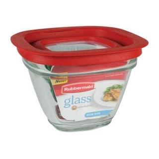 Rubbermaid 2856002 Glass Food Storage Container, 1.5 Cup, Square