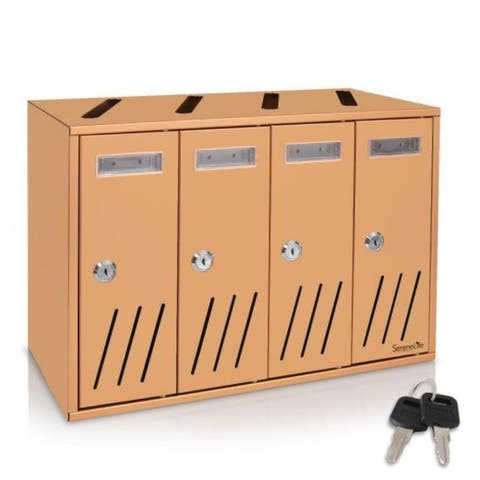 Multi-Compartment Wall Mount Locking Mailbox, Includes Keys (Vertical Style)