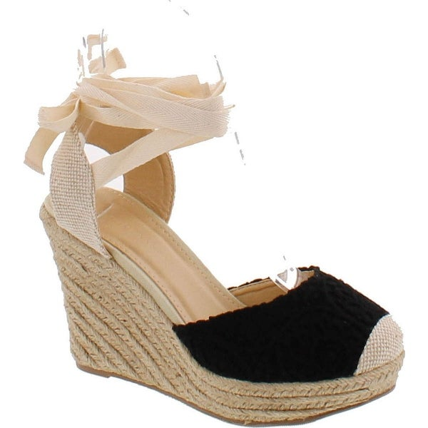 Wild Diva Maegan-32 Womens Floral Crochet Ankle Wrap Slingback Espadrille Wedge