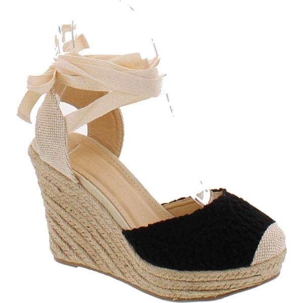 Wild Diva Maegan-32 Women Floral Crochet Ankle Wrap Slingback Espadrille Wedge - Black