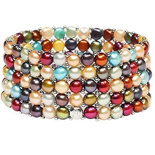 D'AMA Women's Pearl Bracelet - Easy-On Stretch 5 Strand With Stainless Steel Spacer Beads