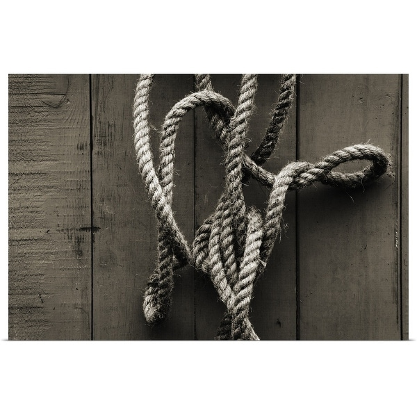 """Tangled rope hanging on wooden fence"" Poster Print"