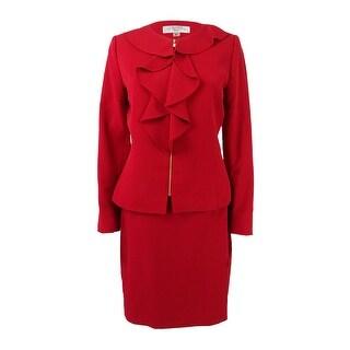 Tahari ASL Women's Petite Ruffled Zip-Front Skirt Suit
