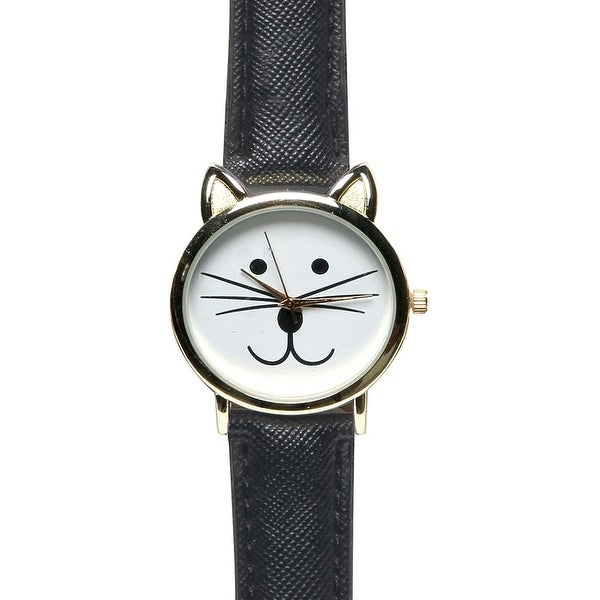 Women's Smiling Cat Leather Band Watch - Red