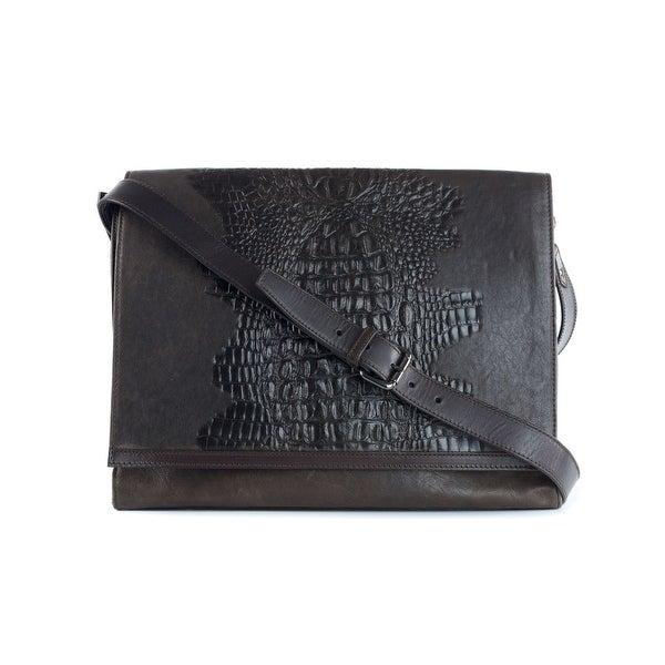 ae4be87c66e Shop Roberto Cavalli Men's Brown Leather Croc Embossed Messenger Bag ...