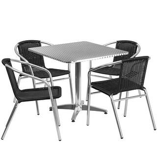Skovde 5pcs Square 31.5'' Aluminum Table w/4 Black Rattan Chairs