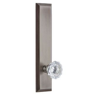 Grandeur FAVFON_TP_SD_NA  Fifth Avenue Solid Brass Tall Plate Single Dummy Door Knob with Fontainebleau Crystal Knob