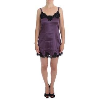 Dolce & Gabbana Purple Black Silk Lace Dress Lingerie Chemise