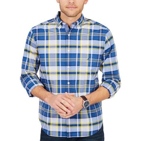 Nautica Mens Big & Tall Button-Down Shirt Plaid Casual