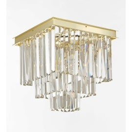 Retro Odeon Crystal Glass Fringe 3 Tier Flushmount Chandelier Flush Mount