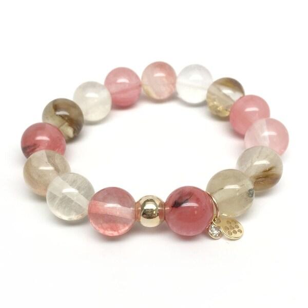 """Pink Cherry Quartz Lauren 7"""" Bracelet"""