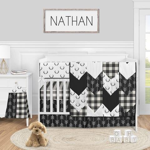 Black and White Buffalo Plaid Boy 5pc Nursery Crib Bedding Set - Woodland Rustic Country Farmhouse Check Deer Lumberjack Arrow