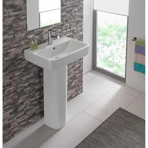 "Bissonnet Comprimo 55 Pedestal Elements 21-11/16"" Vitreous China Pedestal Bathroom Sink with Single Faucet Hole and Overflow"