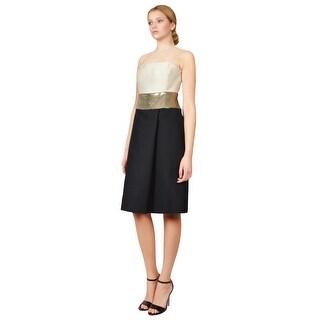 Giambattista Valli Metallic Contrast Strapless Cocktail Evening Dress Ivory/Gold/Black