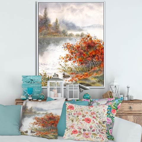 Designart 'View of The Lake In Autumn' Traditional Framed Canvas Wall Art Print