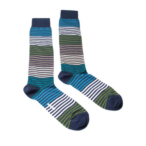 Missoni GM00CMU5233 0003 Navy/Turquoise Striped Knee Length Socks