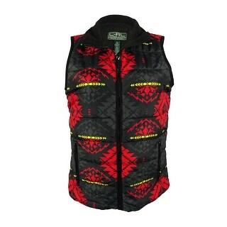 Ralph Lauren Women's Printed Quilted Vest - Black Multi - m