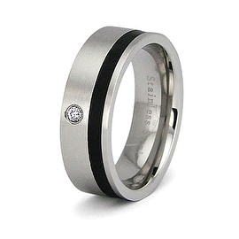 Stainless Steel 7mm Band with Black Stripe and CZ - (Sizes 5-8)