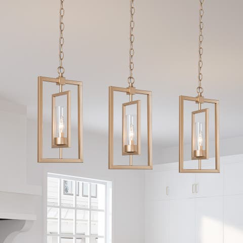 """Modern Gold 1-light Glass Shade Pendant Lights for Kitchen Island Dining/ Living Room - L8.5"""" x W5"""" x H16"""""""