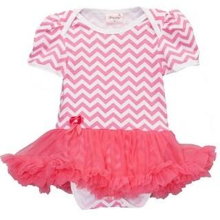 Wenchoice Baby Girls Hot Pink Chevron Tutu Short Sleeve Bodysuit